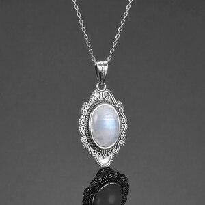 Image 4 - Высокое качество, чистое серебро, винтажный Овальный Радужный Лунный Камень, подвески, ожерелья, Женские Ювелирные Украшения ручной работы, подарки, оптовая продажа