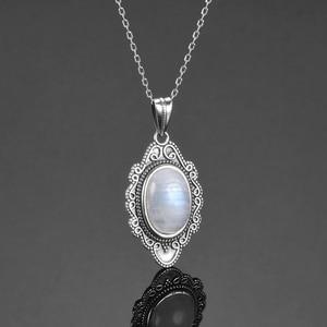 Image 4 - Qualidade superior prata esterlina pura do vintage oval arco íris moonstone pingentes colares artesanal jóias finas presentes atacado