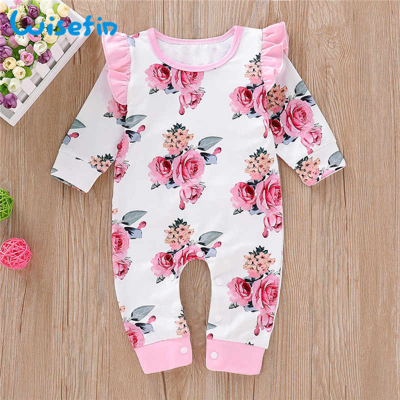 Wisefin Newborn Girl Romper Long Sleeve Autumn Winter Floral Baby Romper For Girl Cute Ruffle Pink Infant Girl Body Jumpsuit D30