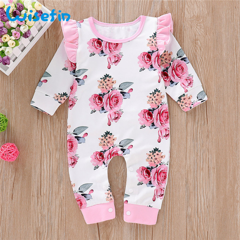 Wisefin Newborn Girl   Romper   Long Sleeve Autumn Winter Floral Baby   Romper   For Girl Cute Ruffle Pink Infant Girl Body Jumpsuit