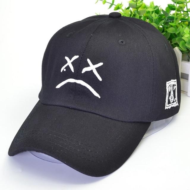 Lil Peep Snapback Baseball Cap Sad Face Hat Hip Hop Cap Embroidery Cotton Golf Dad Hat Women Men Sun Hats Black Pink White Caps