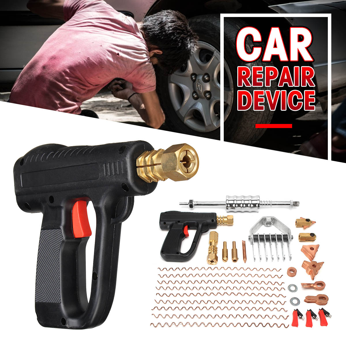 66 pçs/set Dent Extrator De Reparação Kit de Ferramentas De Carro de Mão Corpo Local Armas Mini Sistema de Auto Máquina De Solda Spotter Correção Braçadeira remoção de martelo
