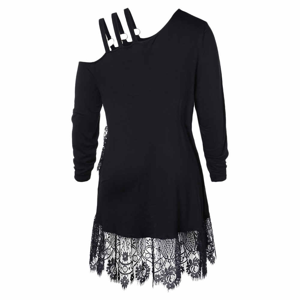 Wipalo Plus Size Lace Irregular Hem Belted T-Shirt Women T-Shirts Winter Spring Casual Long Sleeve Ladies Tops Big Size Clothes