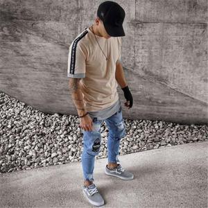 Image 5 - Yeni Moda Streetwear Erkek Kot Vintage Mavi Ince Yırtık Kot Kırık Serseri Pantolon Homme Hip Hop Kot Erkek Pantolon