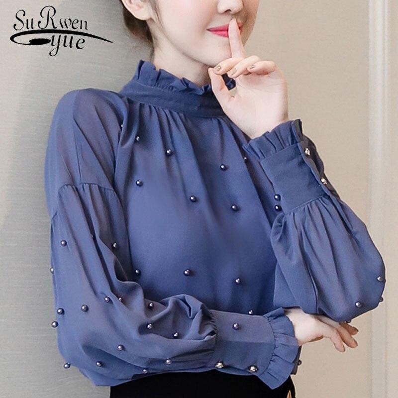 645c2e51f4c 2018 синий шифон для женщин рубашки для мальчиков бисер блузка с длинными  рукавами нижняя рубашка модная