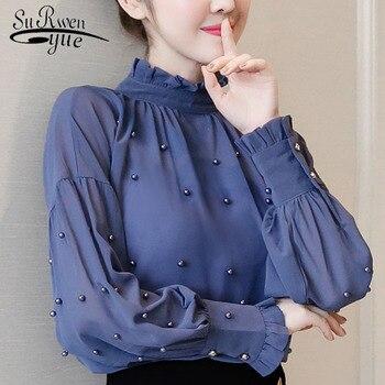 10b4320b42d 2018 синий шифон для женщин рубашки для мальчиков бисер блузка с длинными  рукавами нижняя рубашка модная блузка ПР блузки малышек одежда 1641 50