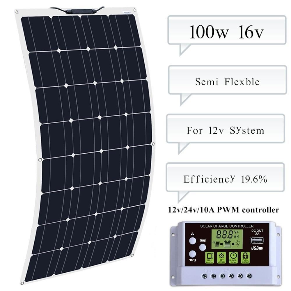 BOGUANG 100w Flexible Solar Panel Module 10A Controller For Caravan RV Boat Yacht Car Home Roof 12v Battery Zonnepaneel
