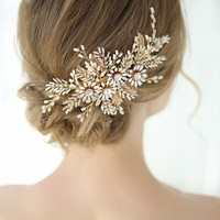 Golden Handmade Bridal Hair Accessories Gold Floral Wedding Hairpins Vintage Style Women Hair Ornaments Retro Jewelry For Women