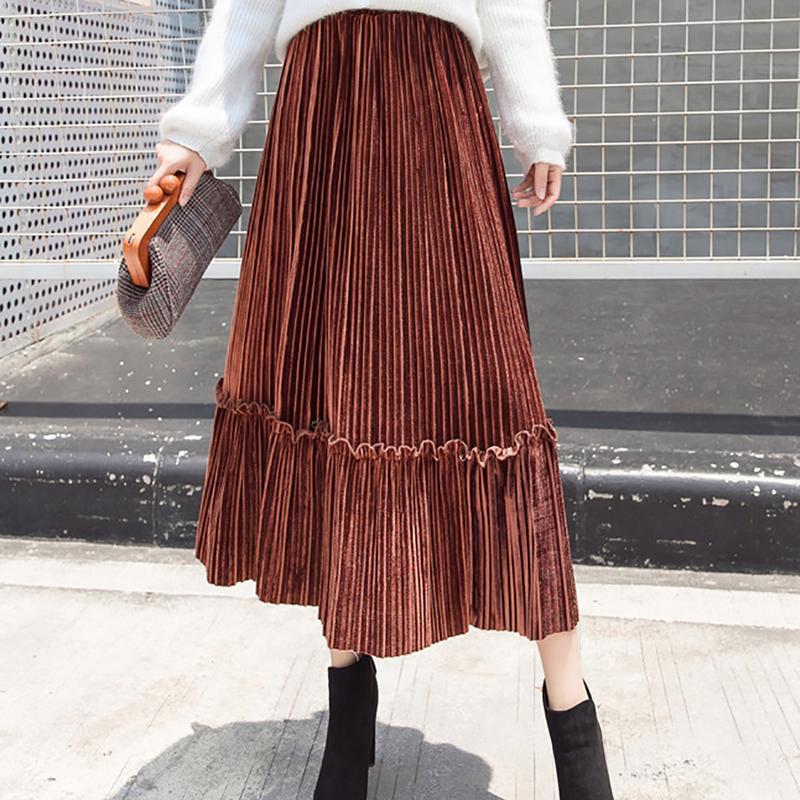 Retro Stretch High Waist Velvet Comfortable Spring And Autumn Classic Stitching Simple Solid Color Elegant Pleated skirt