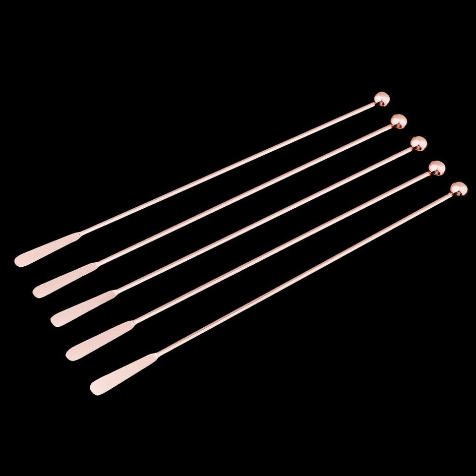 5Pcs Stainless Steel Cocktail Mixer Stirrer Bar Tools Rose Gold-Straight Bar