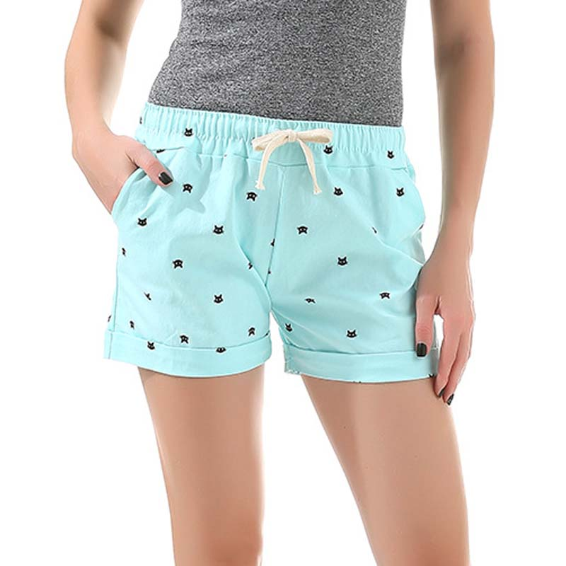 Danjeaner Women Shorts Summer Leisure Beach Loose Drawstring Cotton Shorts Elastic Waist Cat Head Printed  Short Mujer