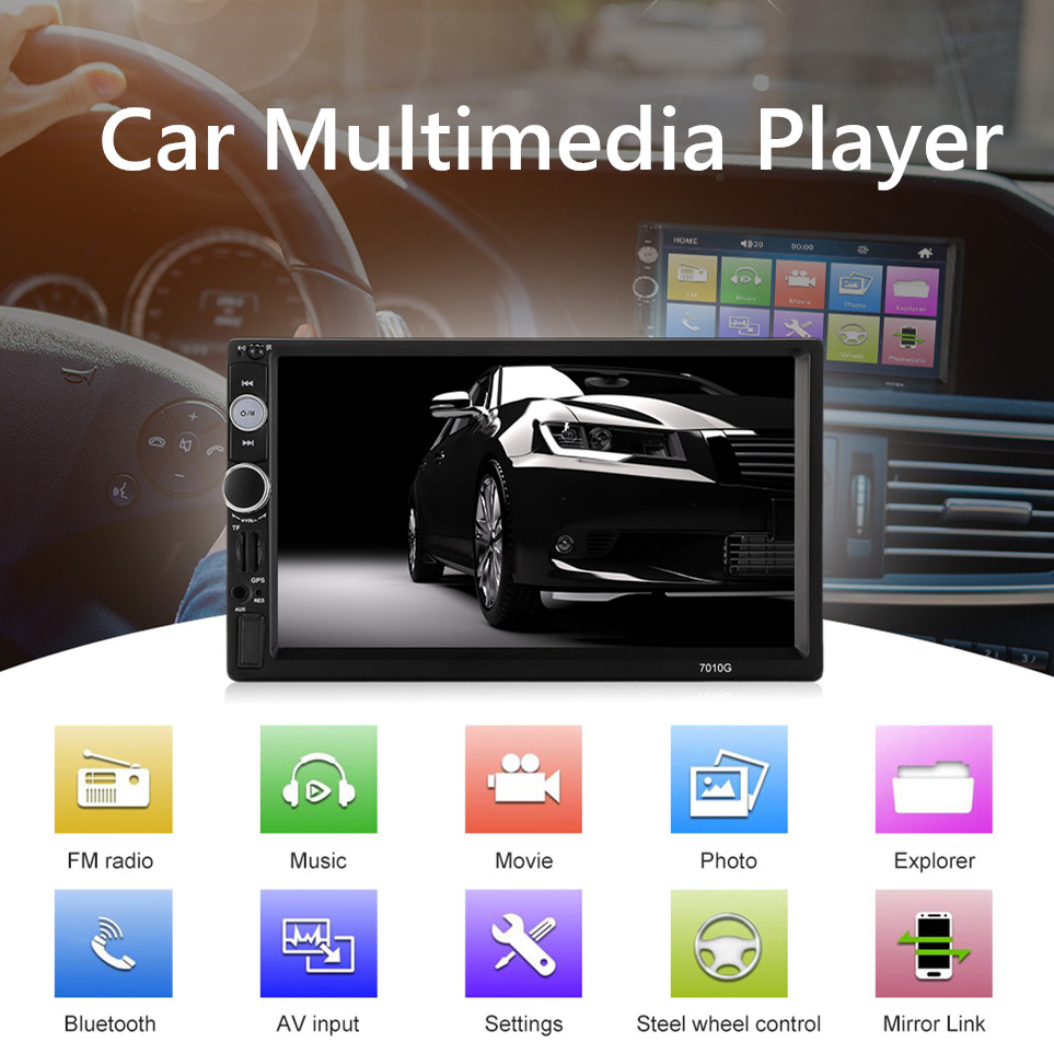 7010G Car Multimedia Player 7 inch 2 Din HD Touch Screen DVD Player GPS Bluetooth Steering Wheel Control FM Radio AV Input7010G Car Multimedia Player 7 inch 2 Din HD Touch Screen DVD Player GPS Bluetooth Steering Wheel Control FM Radio AV Input