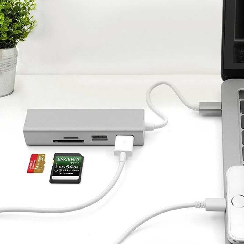 5 في 1 USB C محور 3.0 نوع-C محول مزامنة بيانات قارئ بطاقات RJ45 إيثرنت LAN