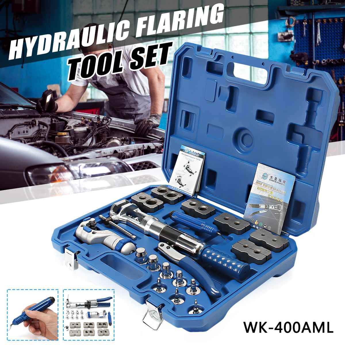 Hydraulic Pipe Expander Set WK-400 Brake Pipe Fuel Line Flaring Tools KIt Stainless Steel Cup-Shaped Mouth For Cup-Shaped HornHydraulic Pipe Expander Set WK-400 Brake Pipe Fuel Line Flaring Tools KIt Stainless Steel Cup-Shaped Mouth For Cup-Shaped Horn