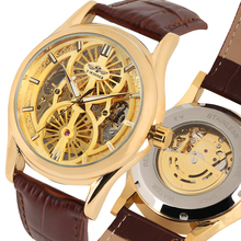 Luxury Gold Skeleton Watch for Men Brown Leather Band Automatic Mechanical Watches for Male Stylish Men Mechanical Watch Gift ik for fully automatic mechanical watch multifunctional back through the gold fashion personality male table