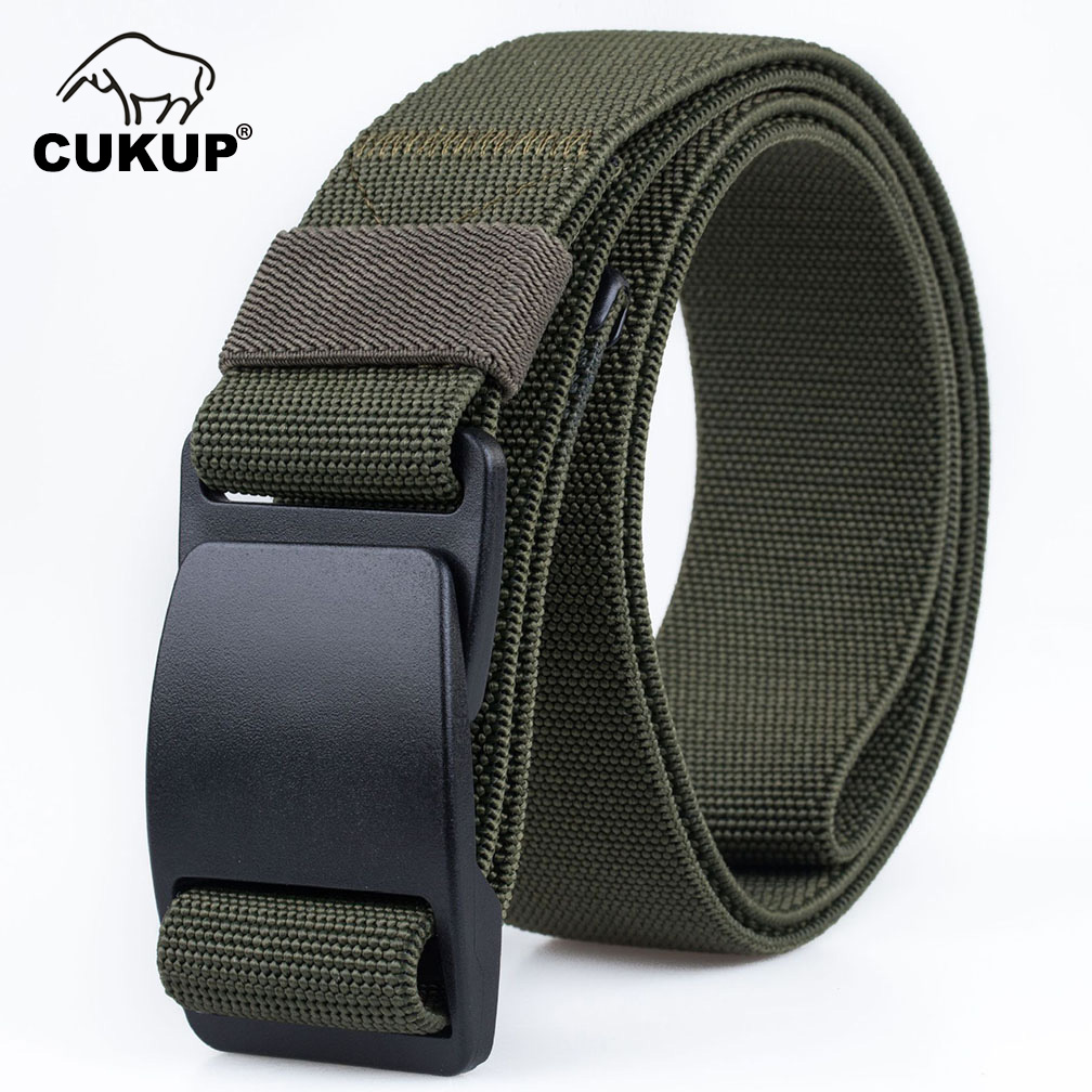 Image 4 - CUKUP Mens Brand Unisex Design Quality Hard Plastic Buckle Belt Man Quality Canvas Elastic Waistband Casual Belts Men CBCK120Mens Belts   -