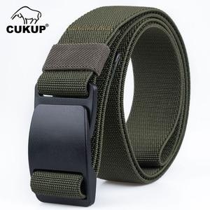 Image 4 - CUKUP Mens Brand Unisex Design Quality Hard Plastic Buckle Belt Man Quality Canvas Elastic Waistband Casual Belts Men CBCK120