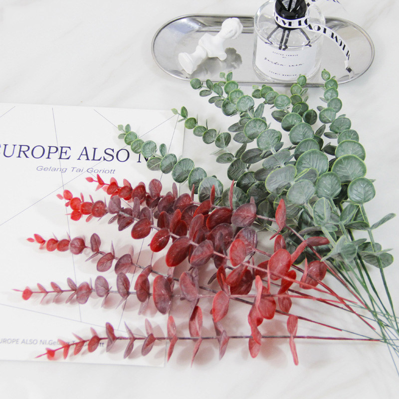 1 Piece Simulation Eucalipto Single Artificial Eucalyptus Leaf Artificial Plants For Wedding Shooting Prop Home Decoration