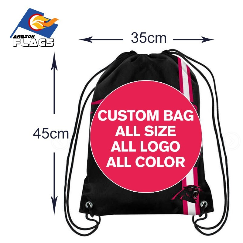 Custom 35 45cm Knitted Polyester Mateial Men Drawstring Backpack Customized Sports Bags Digital Printing Pouch 2018