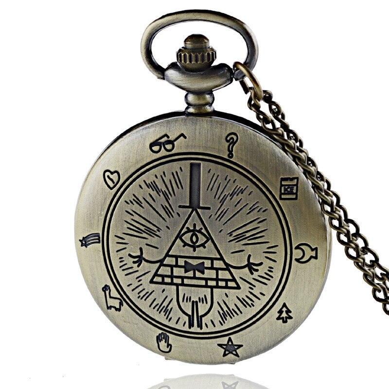 IBEINA Vintage Gravity Falls Theme Full Hunter Quartz Engraved Fob Retro Pendant Pocket Watch Chain Gift