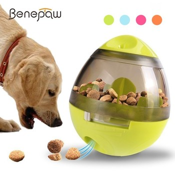 Benepaw Interactive Toy Dog Treat Dispensing Smart IQ Toy Leakage Food Ball Small Medium Large Pet Puppy Play Game 4 Colors 2019