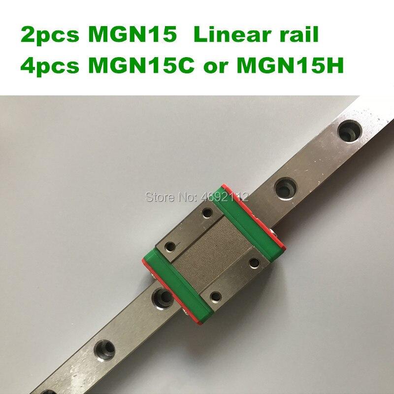 2 pièces 15mm Linéaire Guide MGN15 L = 650 700 750 800 850 900mm rail linéaire moyen + 4 pièces MGN15C ou MGN15H chariot linéaire