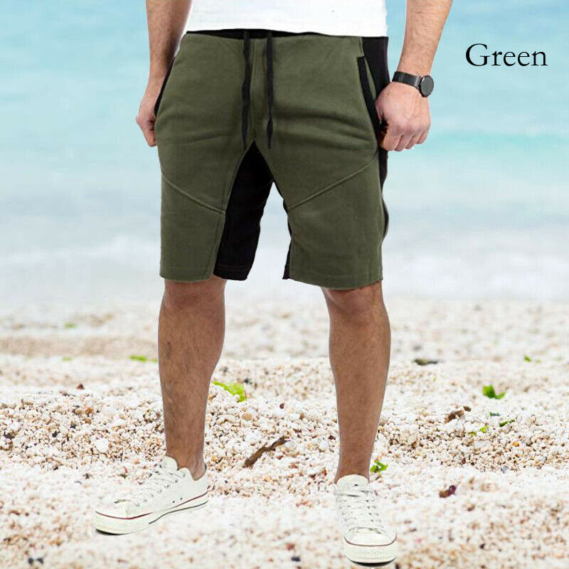 Men's New Summer Casual Shorts Elastic Waist Patchwork Fashion Sportswear Workout Shortpants Loose Shorts Male