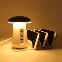 YWXLight Durable 5 Port USB Charging Holder With Stand And Vertical Mushroom LED Lamp Warm White Color Night Light