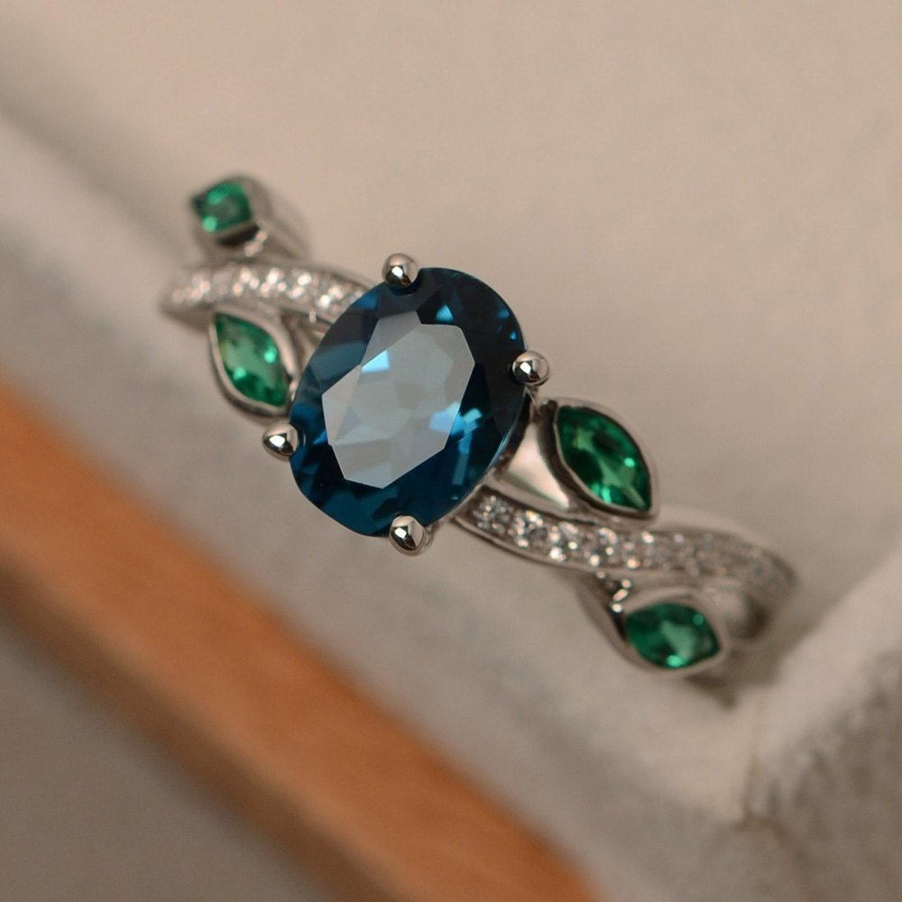 Silver Color S925 Topaz Emerald Ring Luxurious Jewellery For Women Sapphire Jade Bague Etoile Anillos De Ring Agate Bizuteria
