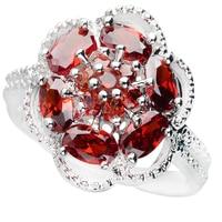 Flower Red Garnet 3*5mm Semi precious Stone Sterling Silver AiMolies Ring Q0906R11