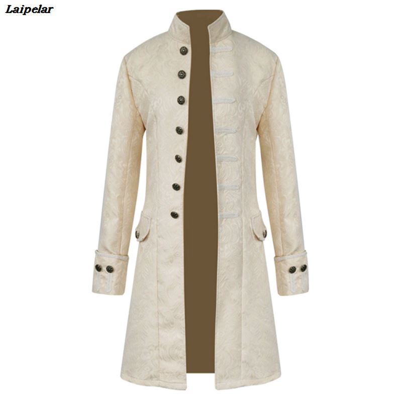 2018 Retro Mens Gothic Brocade Jacket Coat Steampunk Stand Collar Costumes Long Sleeved   Trench   Coat Manteau Homme Laipelar