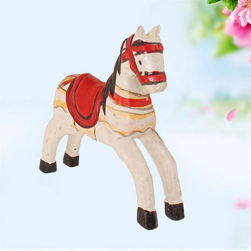 3D Wooden Horse Ornaments Craft Car Interior Display Supplies Home Decorations Creative Birthday Gift