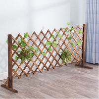 Anti corrosion Fence Restaurant Partition Outdoor Wood Grid Flower Stand Vine Gardening Telescopic Wooden Fence