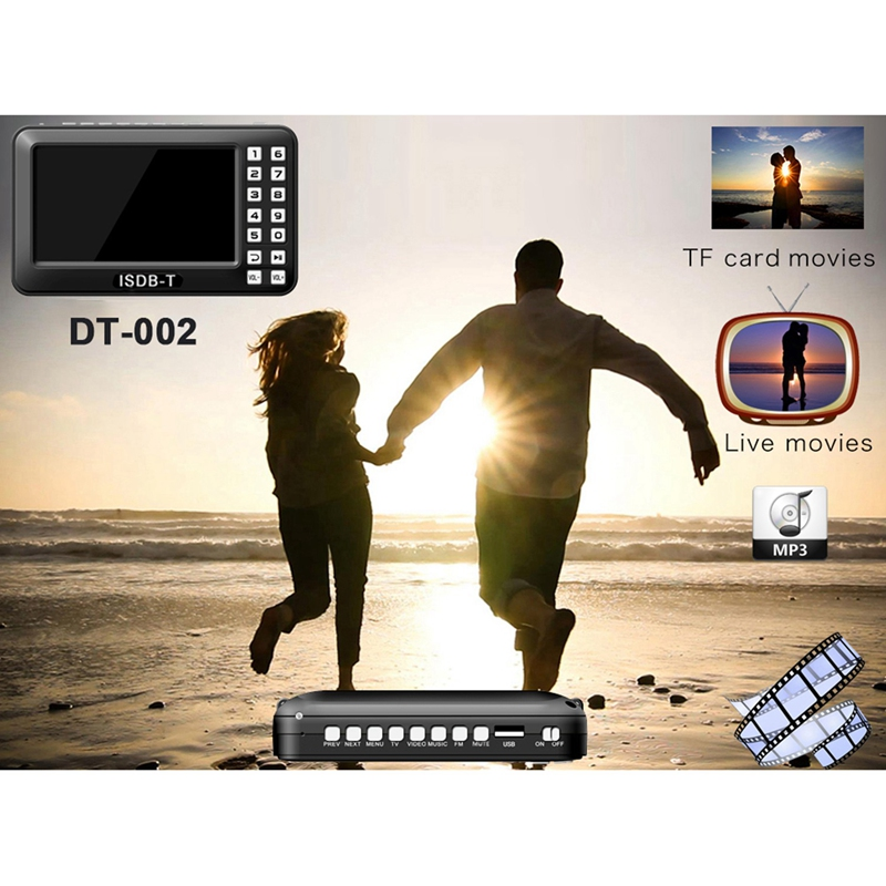 Portable 4.3 inch Lcd Tv Isdb-T Full Seg Fm Rechargeable Tv For Live Movies Music Fm Anytime Us Plug Video Equipments Television