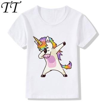 2019 Harajuku Dabbing Unicorn Funny Children T-Shirts Summer Tops Short Sleeve Boys/Girls Clothing Casual Baby Kids Tees,HKP2197