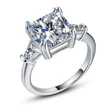 Huitan Eternity Love Ring with White Princess Cut Cubic Zirconia Prong Setting Wedding Engagement Rings for Women & Girlfriend huitan anniversary gift rings for women luxury long cubic zircon stone prong setting with cirrus manufacturer direct sale rings