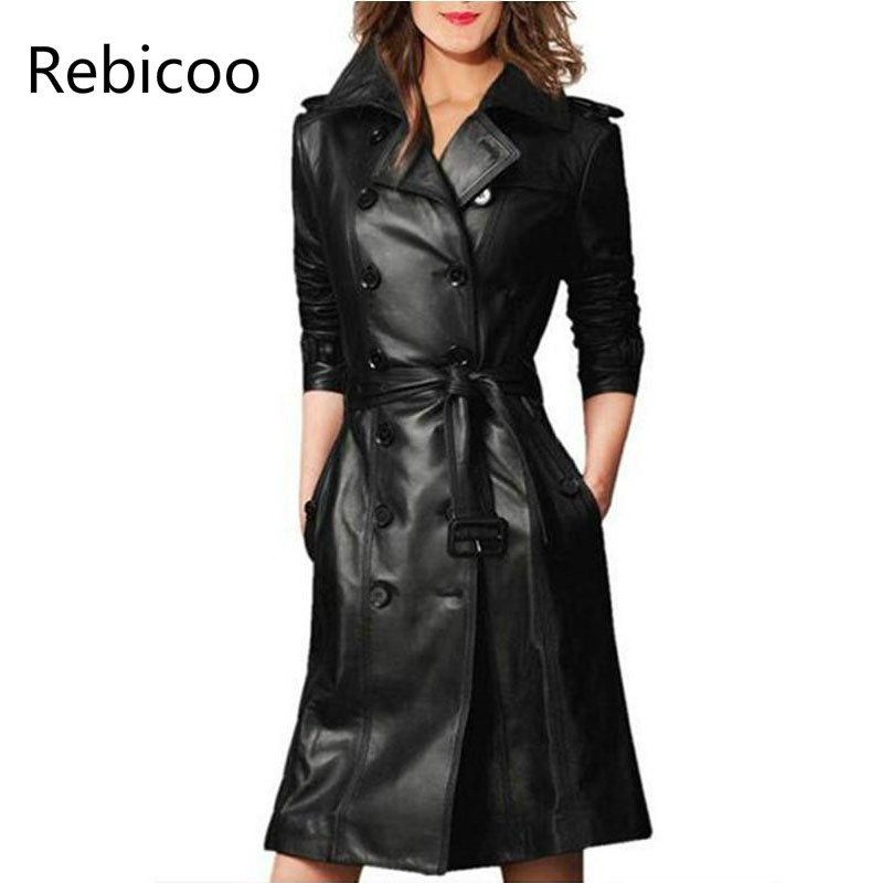 Women Pu Leather Trench Coat Female Overcoat Spring Autumn Long Sleeve Double breasted Long Coat Ladies Plus Size Windbreaker