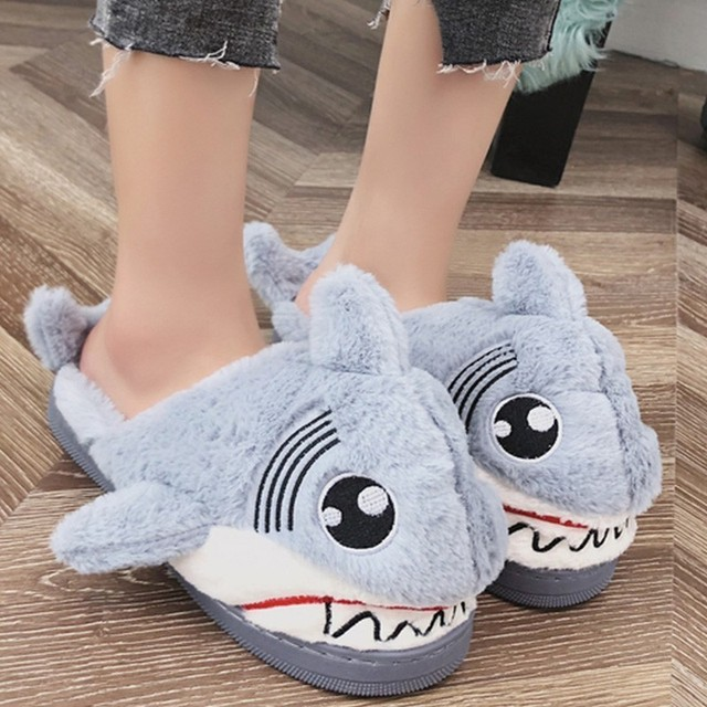 9ae302de3ba Winter Super Animal Funny Shoes for Women Warm Soft Bottom Home House  Slippers Indoor Floor Shark Shape Furry Slippers Fur Shoes
