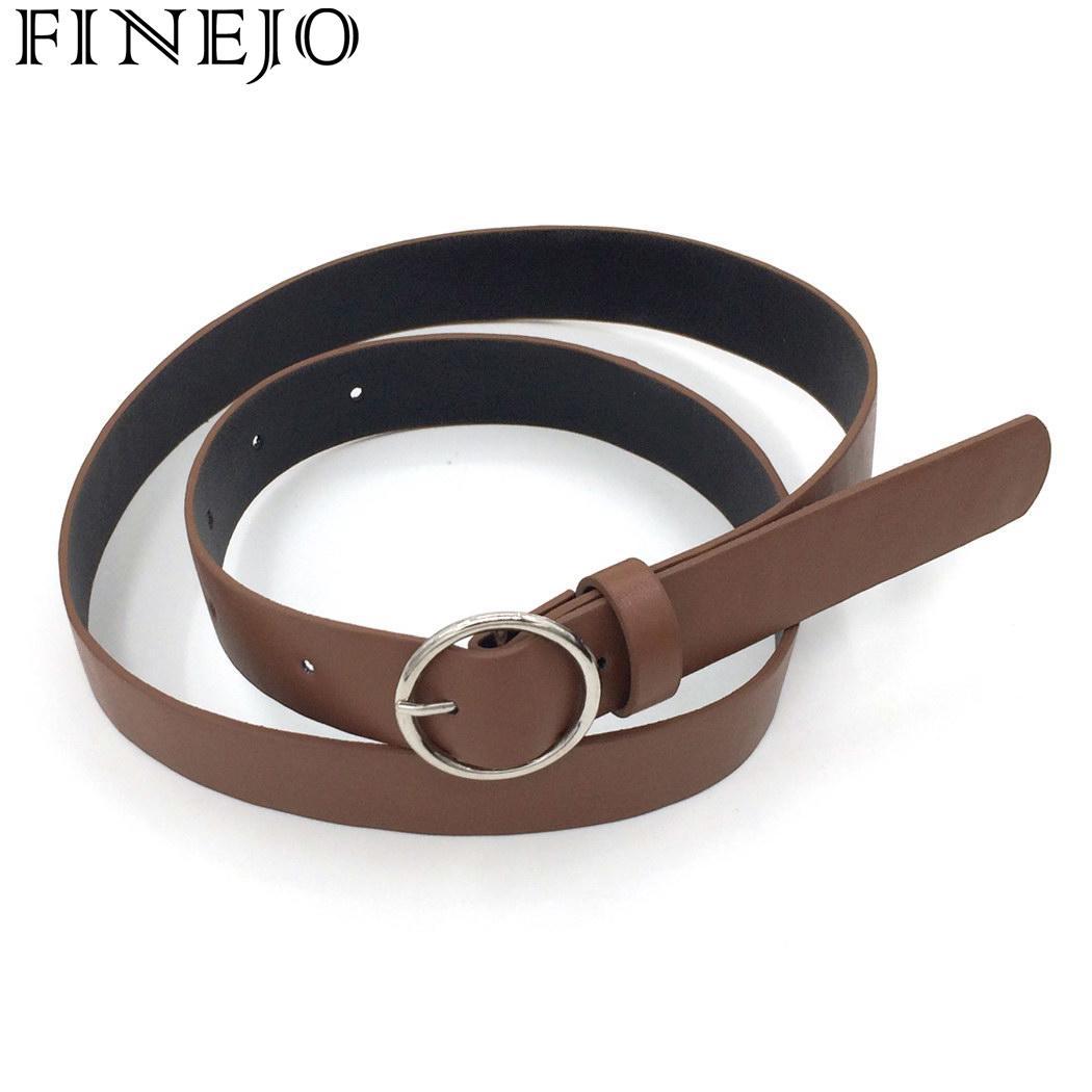 FINEJO Women   Belt   for Jeans Pants Fashion Solid Round Shape Buckle Casual Waist   Belt