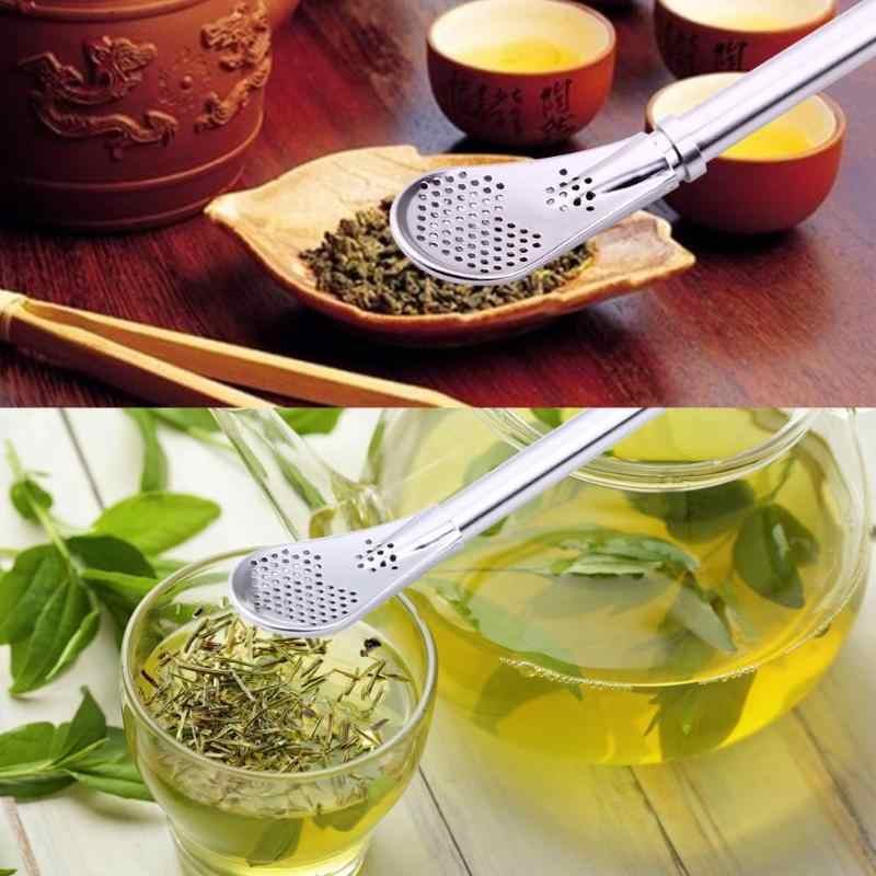 Drinking Straw Filter Handmade Stainless Steel Drinking Straw Spoon Tea Filter Grass Matte Tea Straws Bulb Pumpkin Reusable Tea