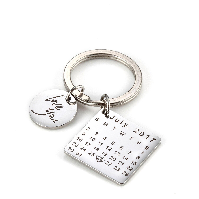 Personalizado grabado personalizado calendario llavero mano tallada Fecha clave cadena Anillo para el día de padres Regalo de Cumpleaños DIY privado llavero