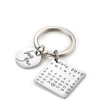 Personalized Custom Engraved Calendar Keychain Hand Carved Date Key Chain Ring for Fathers Day Birthday Gift DIY Private Keyring