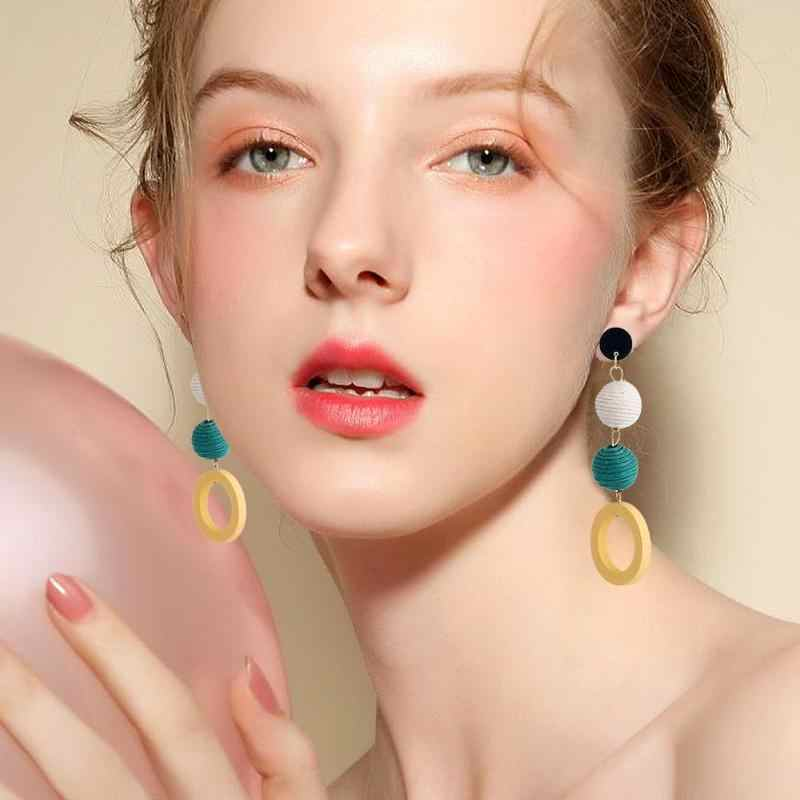 Bohemia Style Geometric Ball Pattern Long Dangle Earrings Jewelry For Working Party Holiday Gift Fashion Earrings Accessories