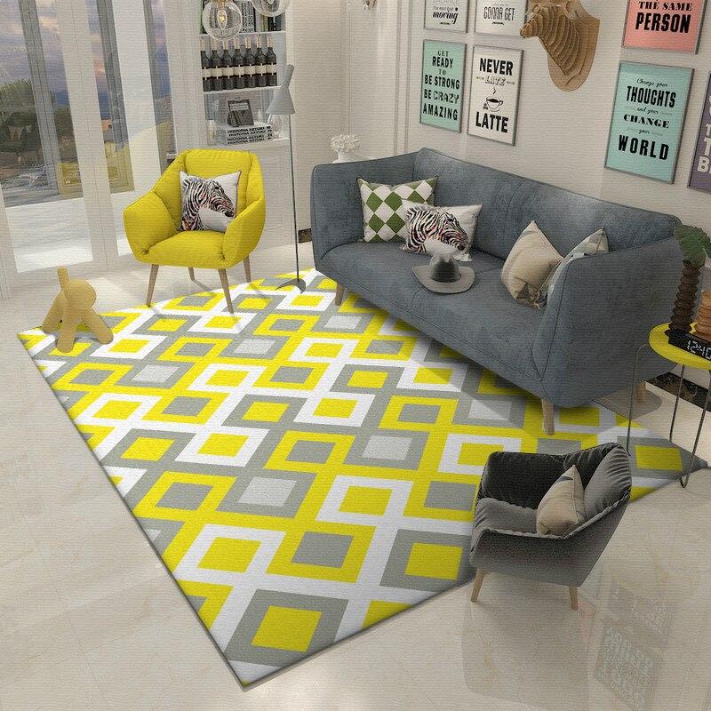Модные Современные Nordic геометрический желтый серый белый проверяет, плед двери коврики/кухня коврики гостиная спальня, зал области ковры
