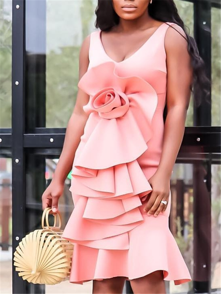 Summer Pink Dress Women V Neck Big Flower Party Dresses Elegant Layer Ruffles Sleeveless Classy Pleated Holiday Beach Vestidos