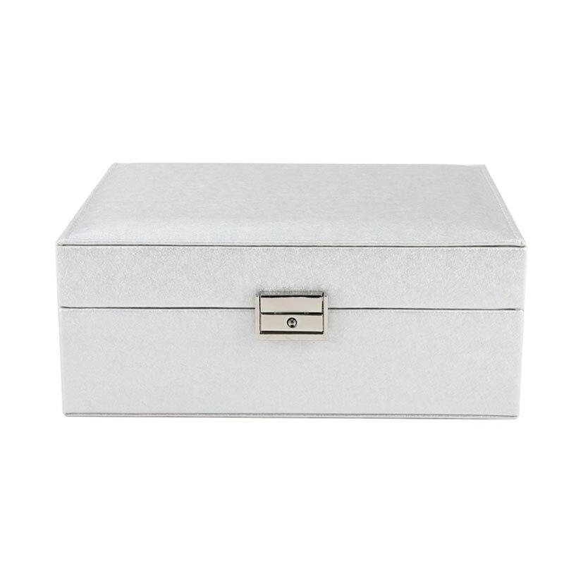New 23*9*18.5Cm Double Layer Portable Jewelry Case Leather Jewelry Box Organizer Princess Dressing Birthday Gift
