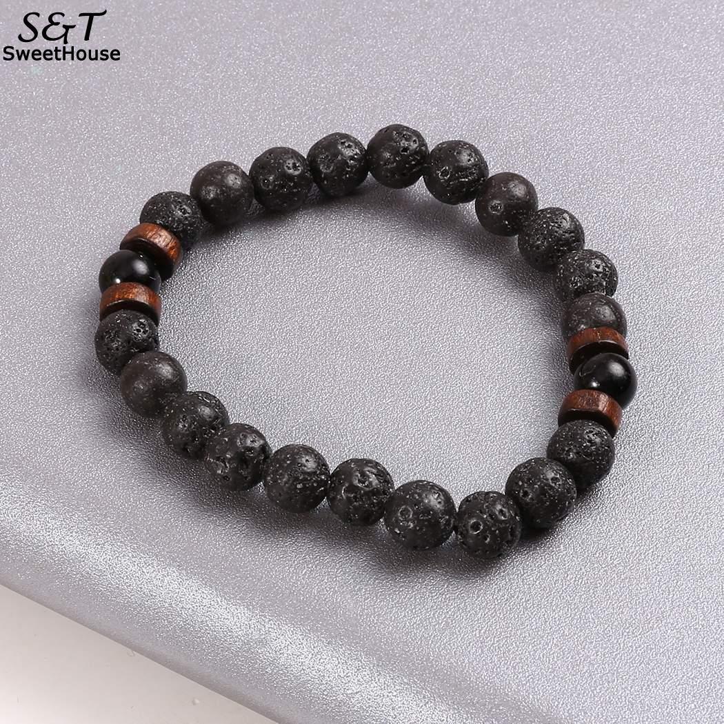 2bd3844c2b140 FANALA Natural Lava Rock Stone Beads Strand Bracelet Wooden bead  Accessories Black Rock Stone Men/Women Jewelry Gift