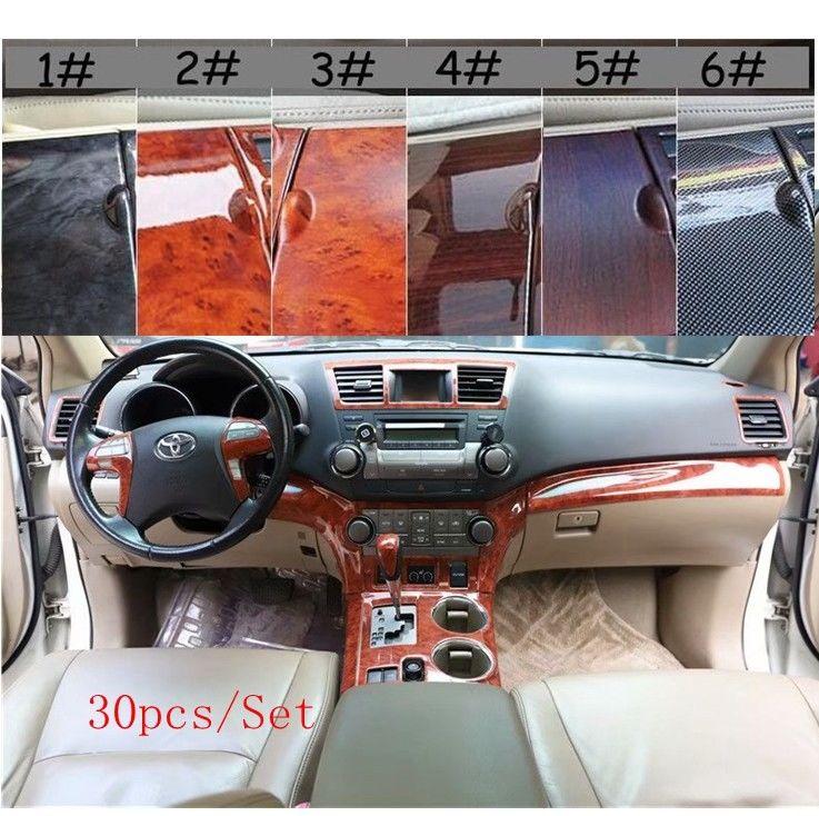 30Pcs/Set Car Interior Wood Grain Color Cover Panel Trim Kit Decorative Cover Stickers For Toyota Highlander 2009 10 11 12 13 14