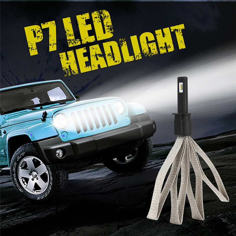 Hiyork LED Car Headlight With Braid Radiating P7 H1 H3 H7 H8/H9/H11 880 9005 9006 9004 9007 H4 H13 Light Auto Bulb Lamp Headlamp