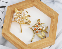 Free shipping copper plating orange flower brooch natural pearls brooch
